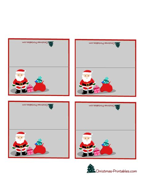 free santa card templates free printable editable place cards best
