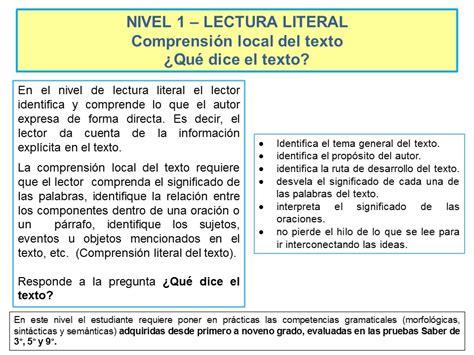 preguntas comprension de texto nivel 1 lectura literal comprensi 243 n local del texto