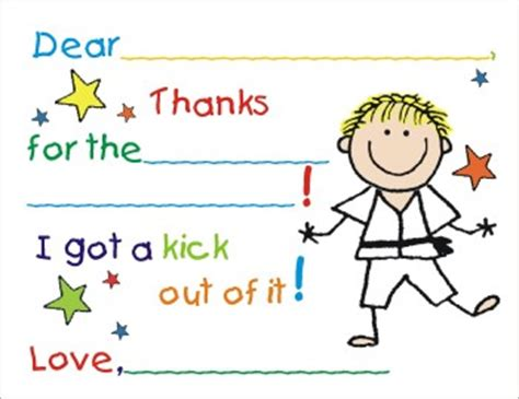 thank you letter to karate fill in birthday thank you cards by the personal