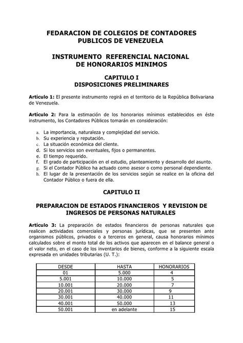 honorarios profesionales de los contadores pblicos honorarios contadores p 250 blicos venezuela