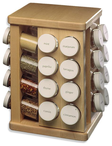 Spice Container Organizer Carousel Spice Rack 32 Bottles Contemporary Food