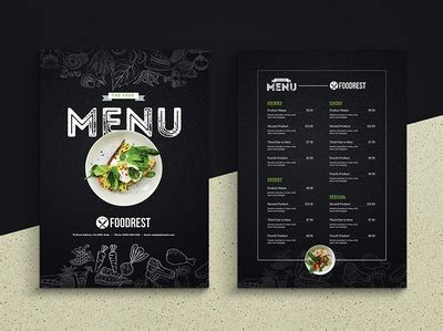creative black food menu flyer  freepiker  dribbble