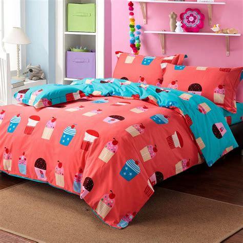cute king size comforter sets cute colorful cupcake patterns orange blue cartoon kids