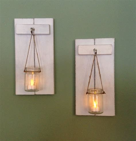 rustic wall sconce wooden candle holder jar candle