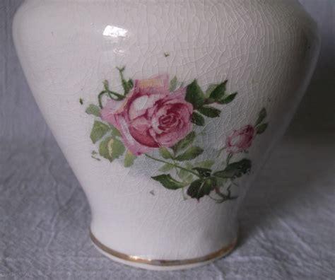 vintage pottery ceramic vase embossed roses transferware