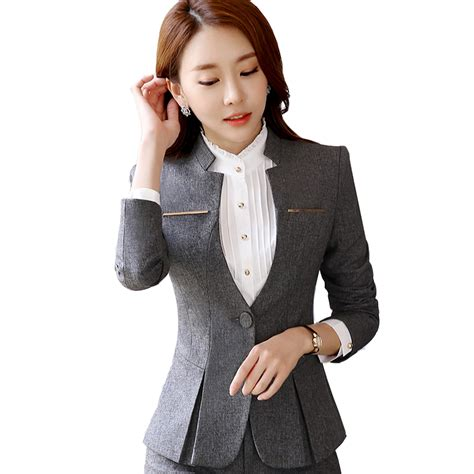 jacket design ladies suits spring autumn elegant ladies skirt suits for women