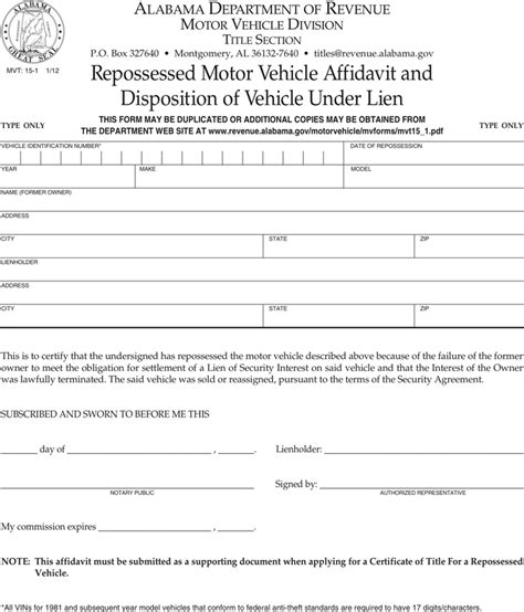 download alabama repossessed vehicle affidavit and