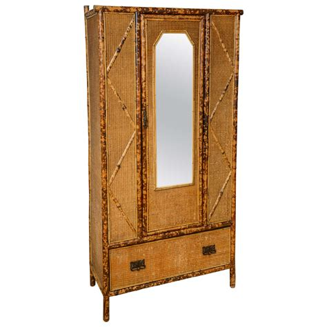Wicker Armoire Wardrobe by 19th Century Bamboo And Rattan Armoire At 1stdibs