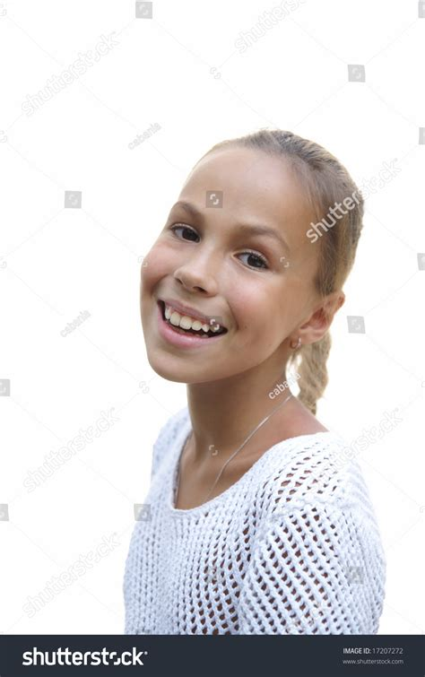 preteen girl with white feathers stock image image of cheerful preteen girl on white background stock photo