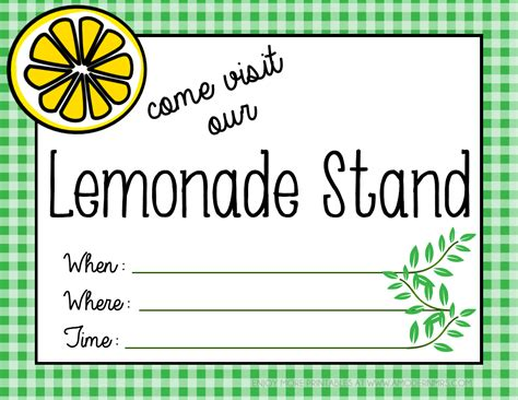 printable lemonade stand poster menu a modern mrs