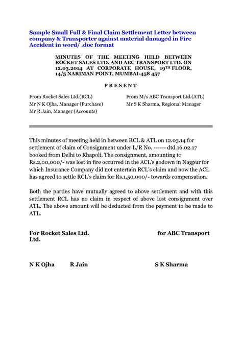 and settlement letter template and settlement letter template car