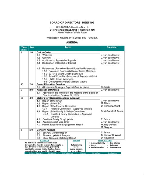 12 Board Of Directors Meeting Agenda Templates Free Sle Exle Format Download Free Board Of Directors Meeting Minutes Template