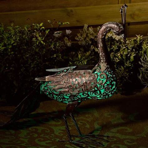 peacock lights metal silhouette solar peacock light
