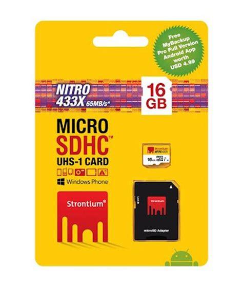 Micro Sd Uhs 16gb strontium 16gb 65mb s class10 433x nitro micro sd card