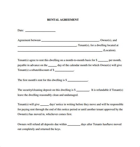 Rental Agreement Letter Pdf Sle Generic Rental Agreement 6 Free Documents In Pdf Word