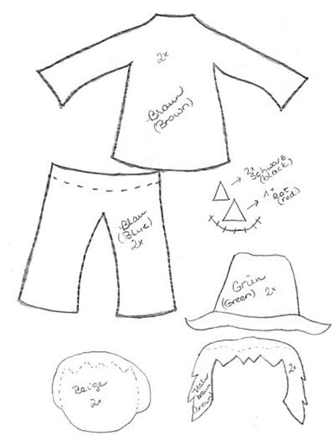 free printable scarecrow template free pattern for scarecrow parts