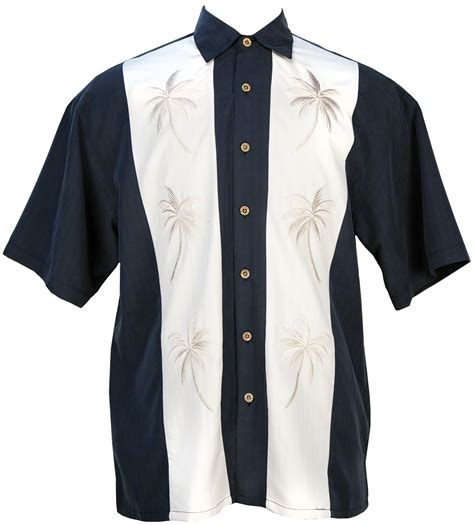 bamboo cay palm panel tropical embroidered shirt in navy
