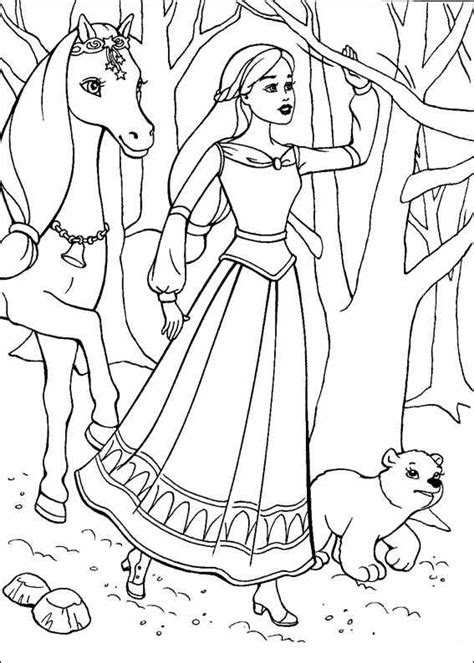 Coloriage Cheval Barbie Imprimer Ancenscp Princess Drawing Free Coloring Sheets
