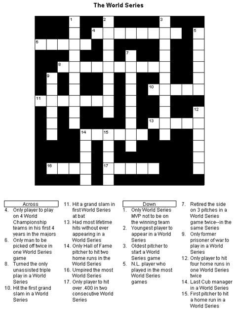 printable world puzzle baseball crossword puzzle world series printable version