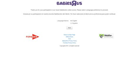 Babies R Us Sweepstakes - babies r us survey completion guide