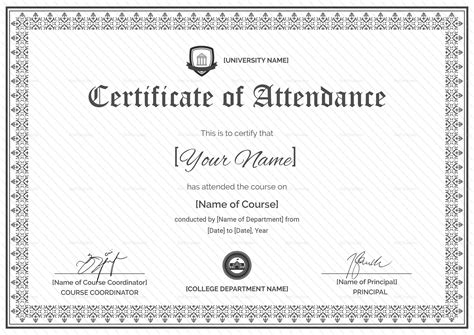 templates for certificates of attendance of a course meeting attendance certificate template images
