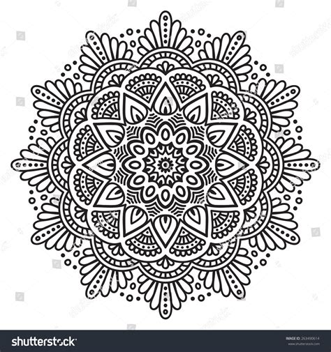 ottoman motifs mandala ethnic decorative elements hand drawn stock vector