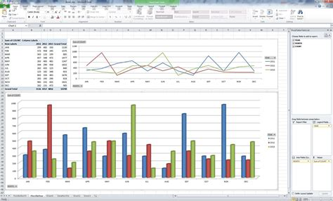 microsoft excel pivot tables ms excel pivot table and chart for yearly monthly