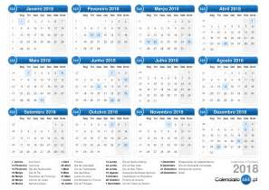 Calendario 2018 Semanal Calend 225 2018