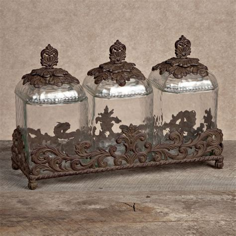 decorative kitchen canisters sets gg collection gracious goods 3 piece glass canister set