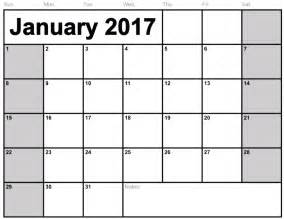 Single Page Calendar Template by Calendar January 2017 Printable One Page Calendar