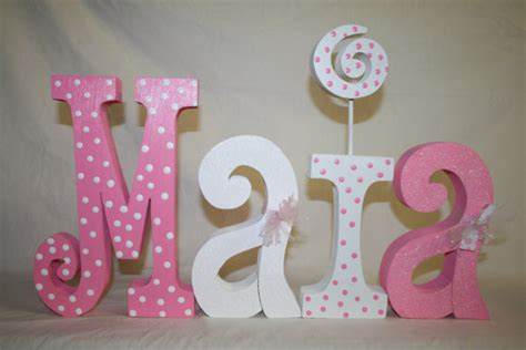 Letter Decorations For Nursery Baby Shower Decoration 4 Wood Letters By Woodenwondersshop On Etsy