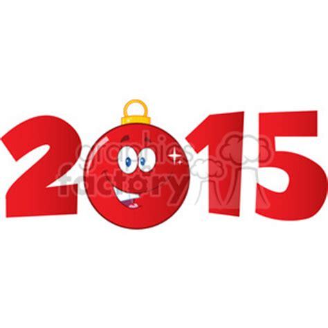 royalty  rf clipart illustration  year  cartoon red christmas ball clipart