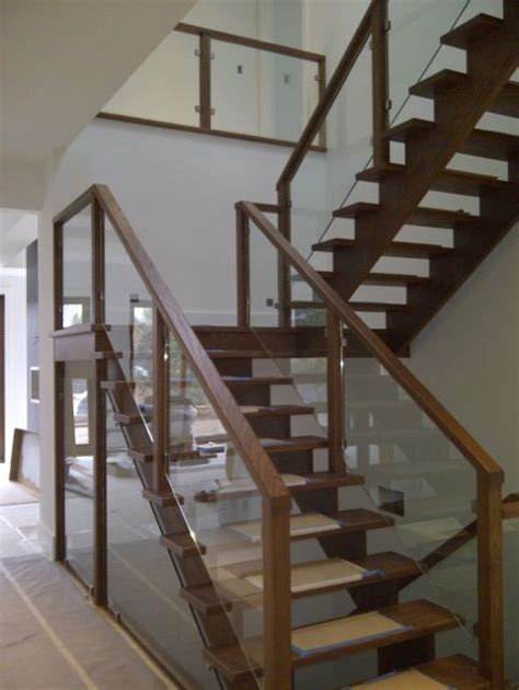 wood and glass banister wood framed glass railing home pinterest