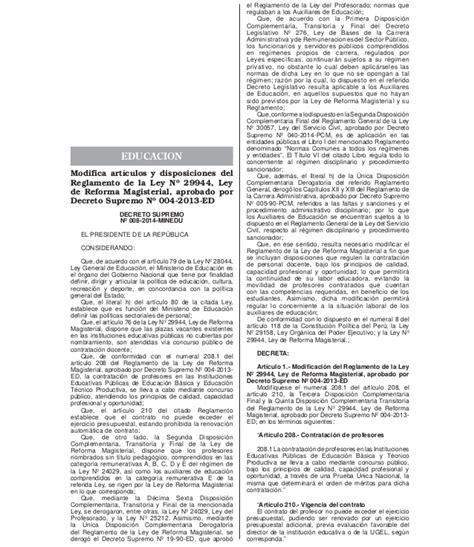 decreto supremo n 010 2015 minedu modifica el reglamento d s n 176 008 2014 minedu modifica art 237 culos y