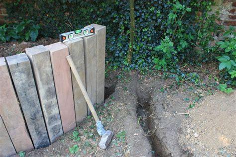 Sleeper Retaining Wall Construction by Garden Ideas On Railway Sleepers Gabion