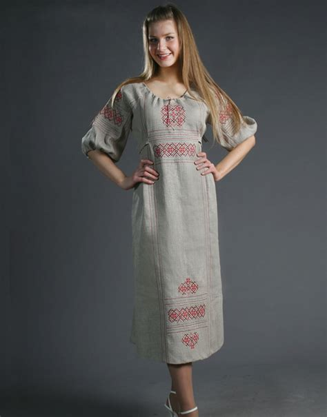 linen dress slavic style rusclothing
