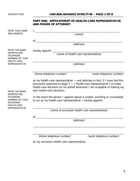 she representative appointment letter template free indiana durable power of attorney for health care and