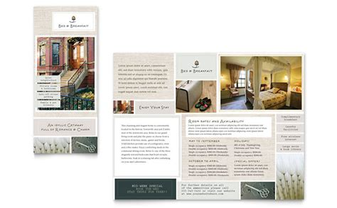 hotel brochure template bed breakfast motel tri fold brochure template design