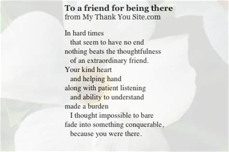 thank you letter to a friend for being there thank you poem to a friend thank you cards thank you
