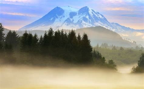 nature landscape mountain mist snowy peak mount