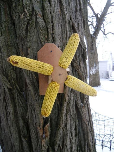 cedar spinning corn cob squirrel feeder by