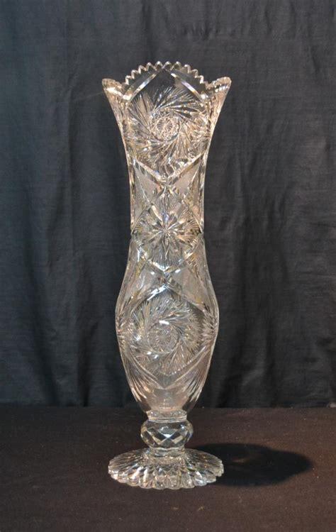 Large Antique Vases by Large Antique Cut Glass Corsett Vase