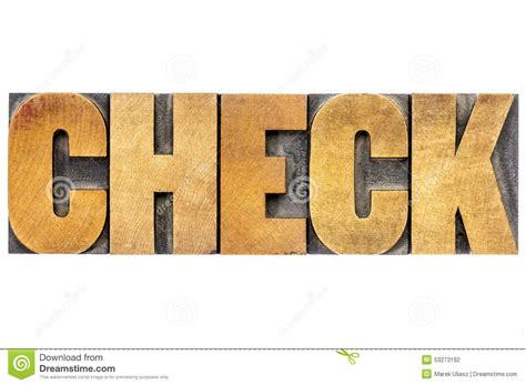 typography on wood check word typography in wood type stock photo image