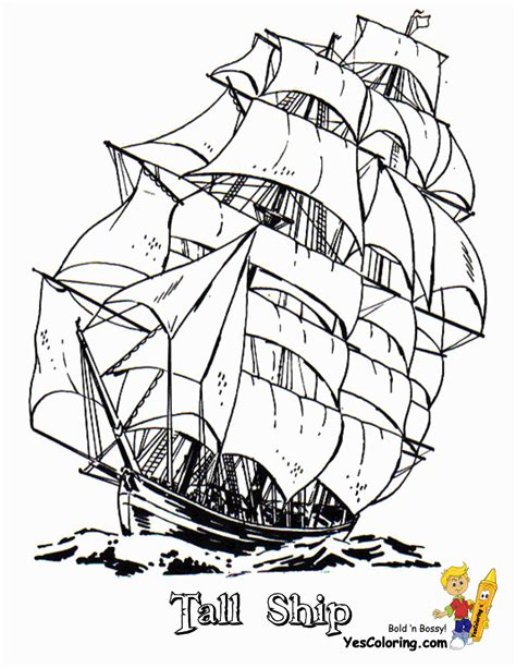 sky high tall ships coloring pages ship free sailing