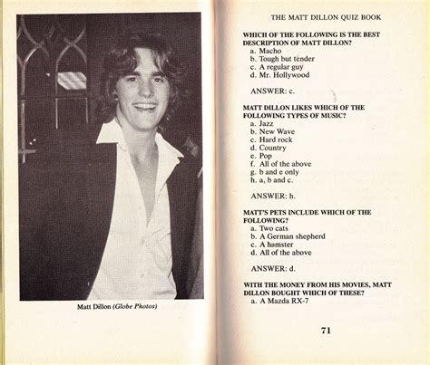 matt dillon quiz the quot james dean of the 80s quot awful library books