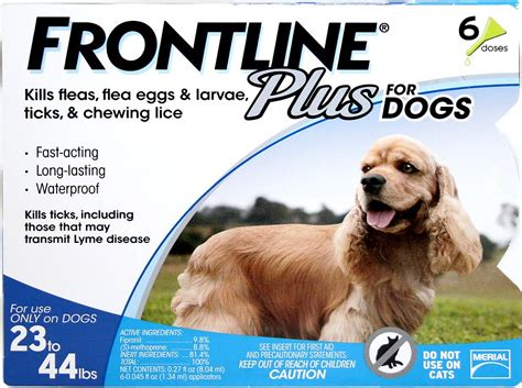 frontline dogs frontline plus flea tick treatment for dogs 23 44 lbs 6 treatments chewy