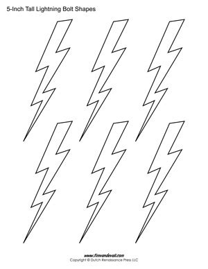 Printable Lightning Bolt Templates Light Bolt Shape Pdfs Lightning Bolt Template