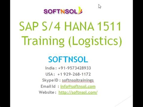 tutorial sap logistics sap simple logistics online training sap s4 hana simple