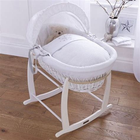 White Wicker Baskets And Product Information On Pinterest Baby Crib Basket
