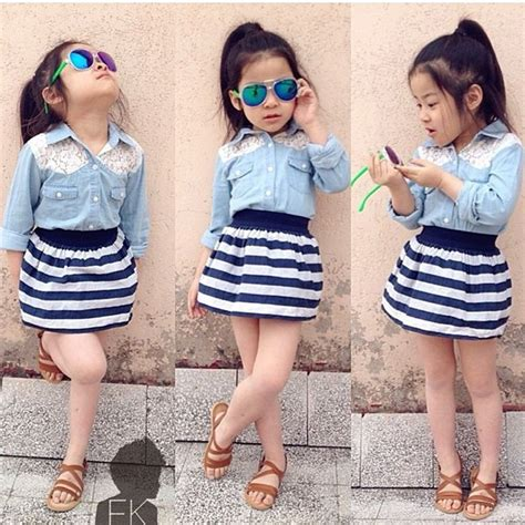 Blus 2pcs Batik Mix Denim summer baby sleeve denim t shirt skirt